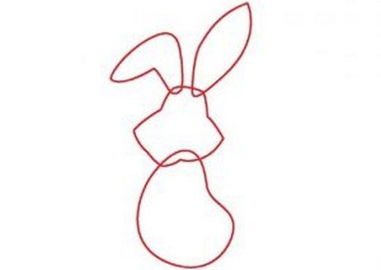 Рисуем туловище, голову и уши зайцу