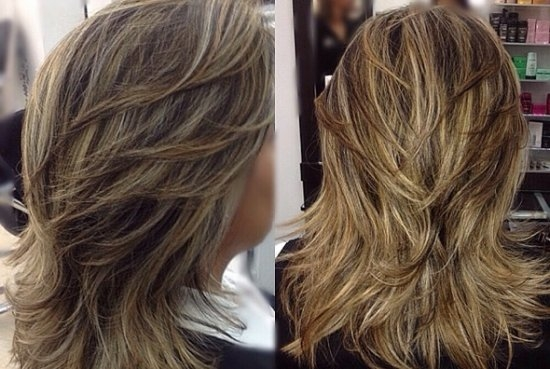 Каскад на длинные волосы вид сзади