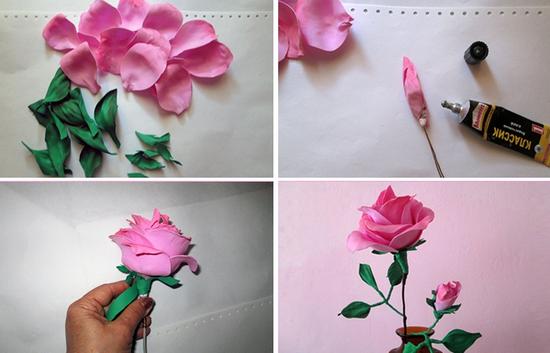 Цветы из фоамирана - роза
