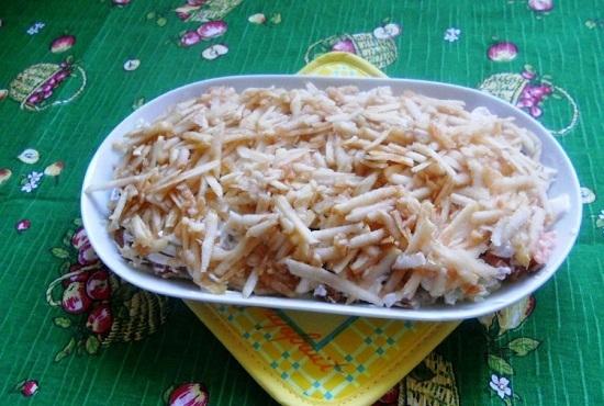 рецепт салата нежность с горбушей