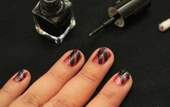 Маникюр со стразами на короткие ногти