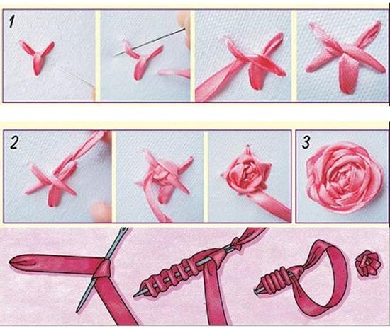 Вышивка лентами: цветы в схемах
