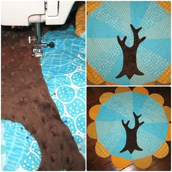Прикрепить по центру детского коврового покрытия дерево