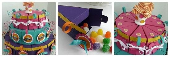На детский праздник сделать двух- или трехъярусный разноцветный тортик