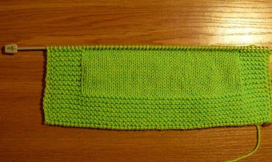 Провязываем 6 рядов платочной вязкой