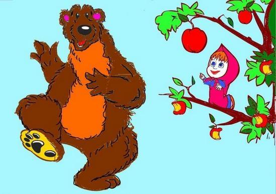 Как поэтапно нарисовать Машу и Медведя карандашом