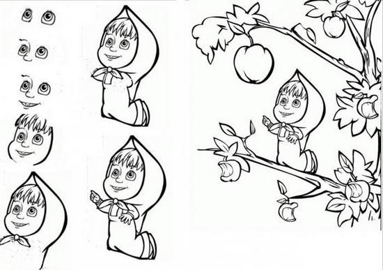 Как рисовать Машу из мультика