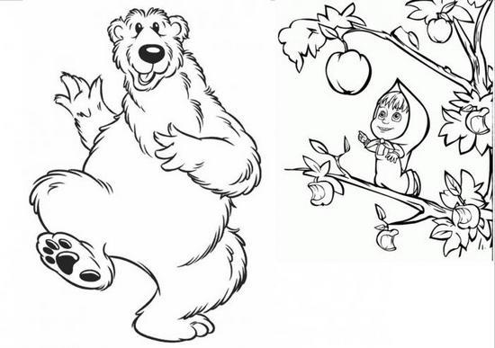 Маша и медведь карандашом