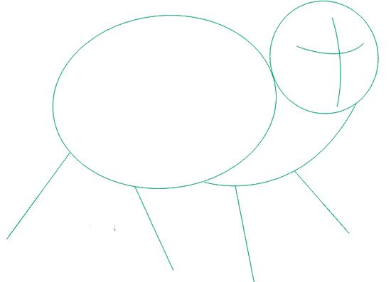На мордочке по центру рисуем две пересекающиеся прямые
