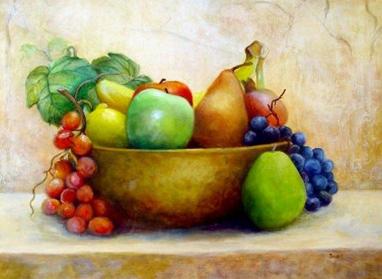 Как нарисовать натюрморт с фруктами?