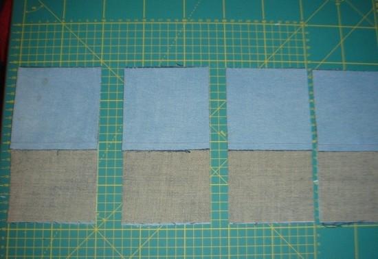 Таким же образом делаем заготовки из джинсовой ткани