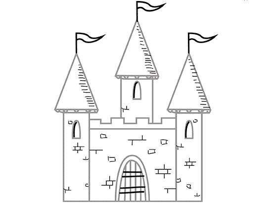На шпилях башен дорисовываем флаги