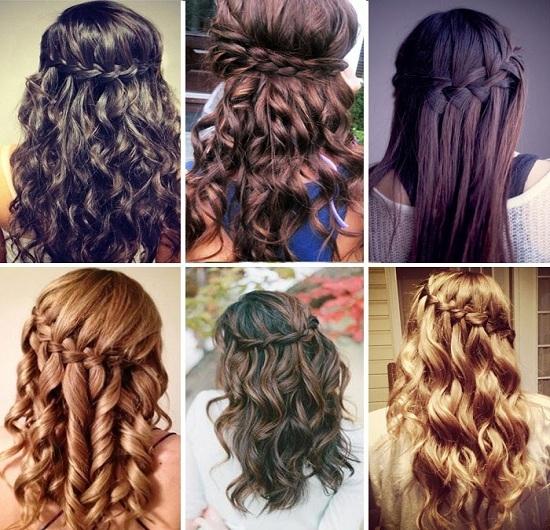 Прически на выпускной бал для длинных волос. Водопад из волос
