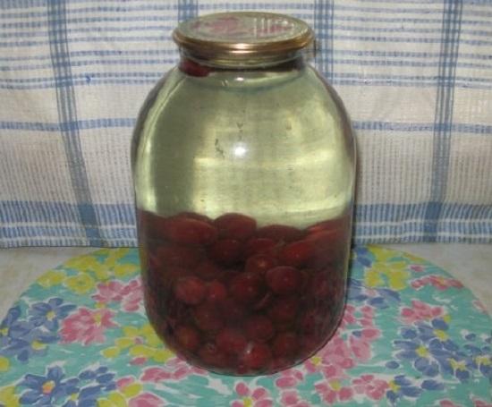 аливаем жидкостью замороженные вишневые плоды