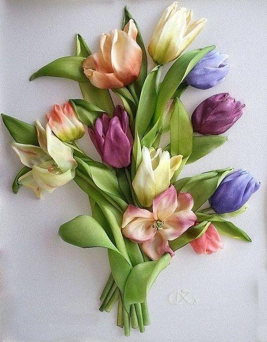 Вышивка лентами: тюльпаны