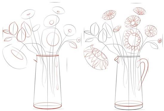 Как нарисовать букет цветов