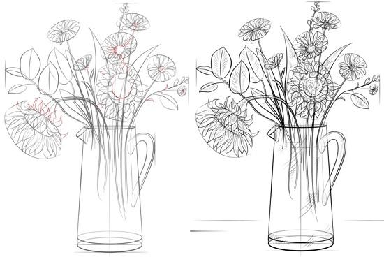 Как нарисовать букет цветов подсолнухов