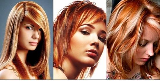 Рыжее мелирование на белые волосы
