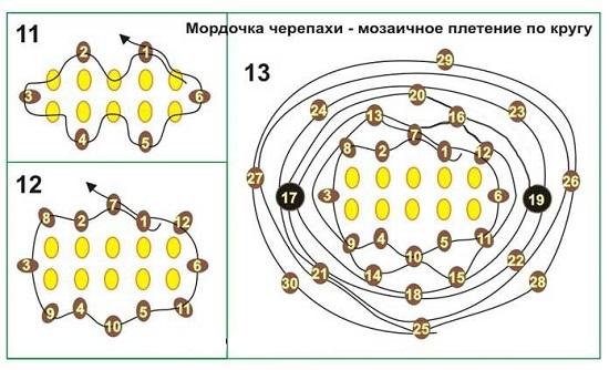 продолжим объемное плетение по кругу