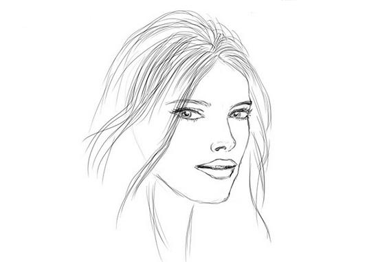 Женский портрет карандашом