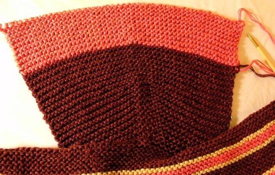 Как связать капюшон спицами от горловины техникой прямого вязания: шаг 7