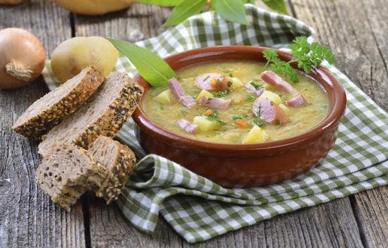 Порция горохового супа сколько калорий