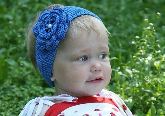 Летний вариант детской повязки с использованием легкой хлопчатобумажной, льняной или камвольной пряжи