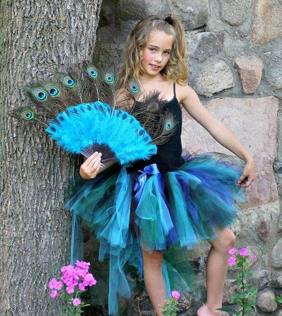 Платье из фатина для девочки павлин