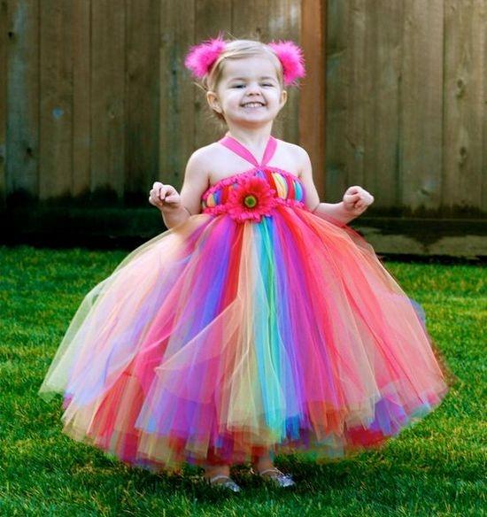 Платье из фатина для девочки радуга