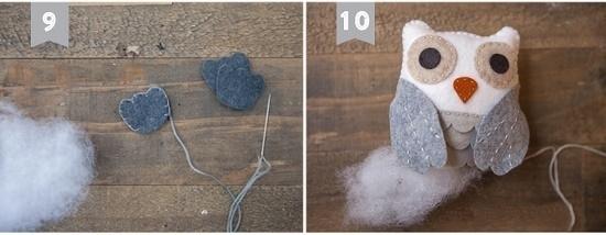 Как смастерить сову из фетра: шаг 8