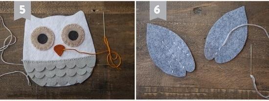 Как смастерить сову из фетра: шаг 6