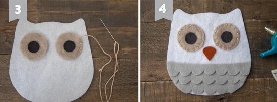 Как смастерить сову из фетра: шаг 4