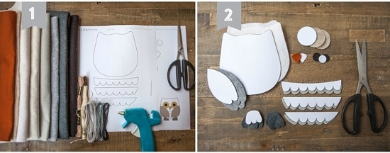 Как смастерить сову из фетра: шаг 2