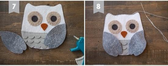 Как смастерить сову из фетра: шаг 7