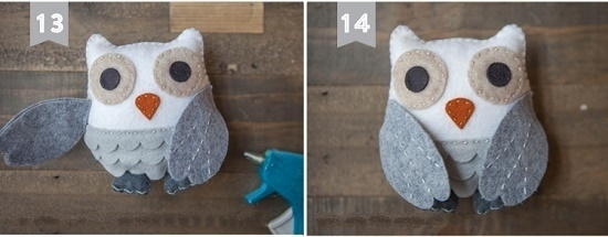 Как смастерить сову из фетра: шаг 11