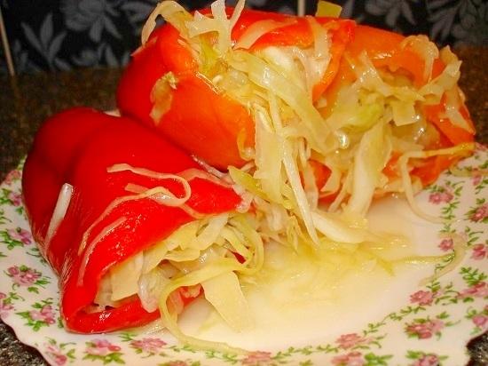 маринованный болгарский перец фаршированный капустой