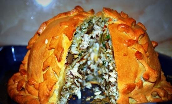 пирог из блинов рецепт с фото с грибами и курицей
