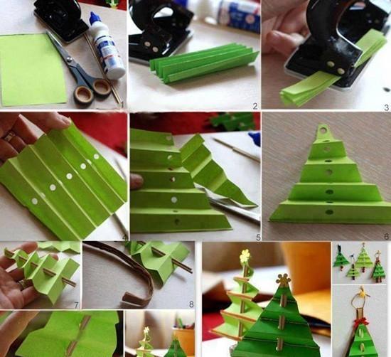 елочка из листа зеленой цветной бумаги