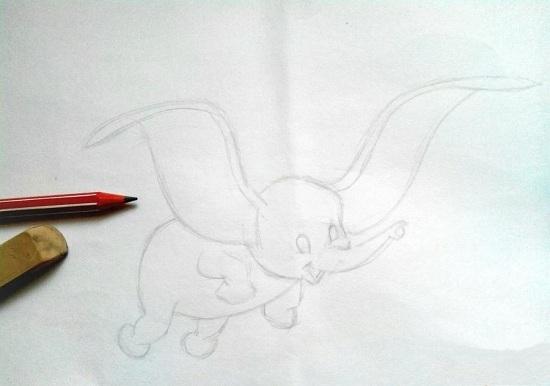 Еще раз обведем основные линии слоненка