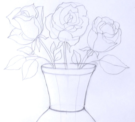 изобразить букет цветов в вазе