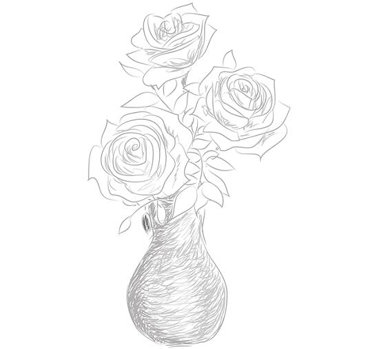 как нарисовать вазу с розами