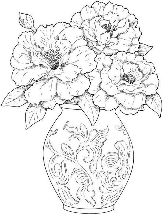 Ваза с пышными цветами нарисованная карандашом