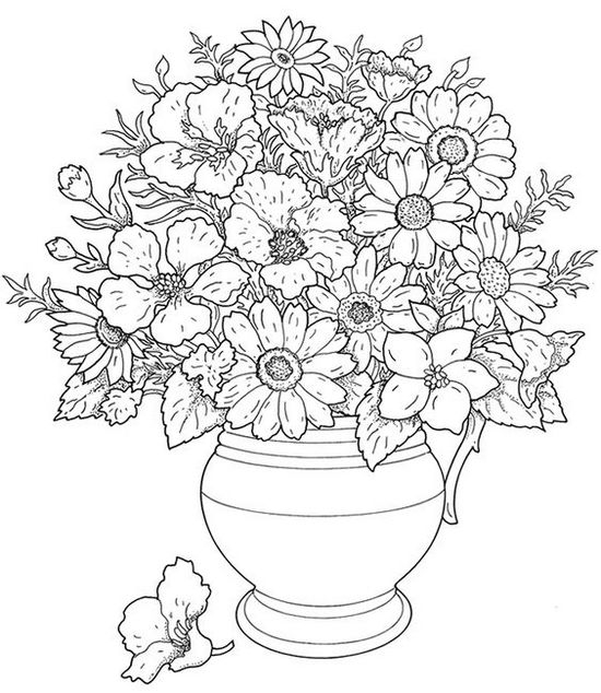 Ваза с цветами нарисованная карандашом