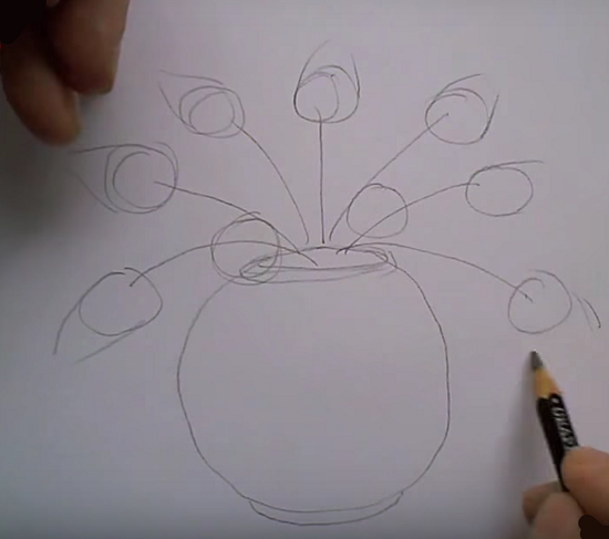 Желтые тюльпаны рисунок пошагово