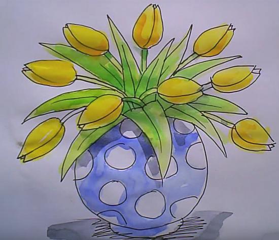 Желтые тюльпаны карандашом