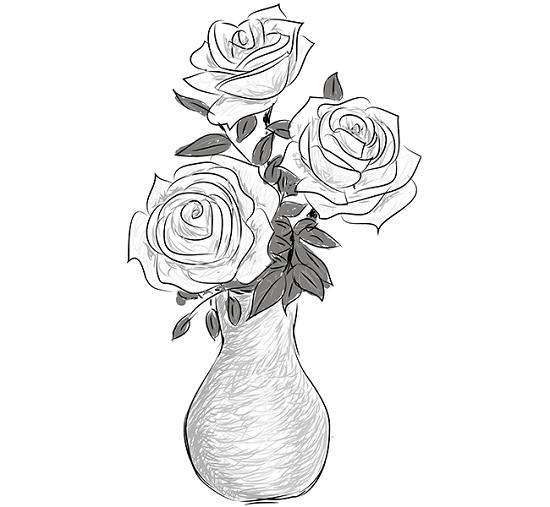 как нарисовать вазу с розами простым карандашом