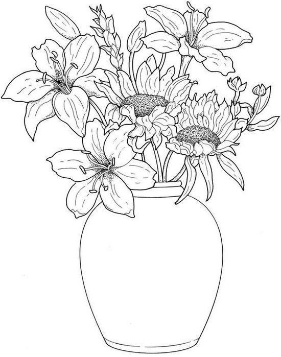 Ваза с лилиями и подсолнухами нарисованная карандашом