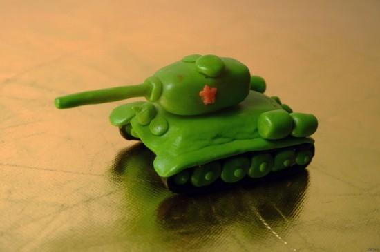 как сделать из пластилина танк