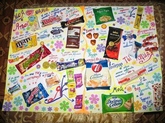 плакат с шоколадками и надписями своими руками