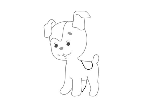 На туловище собачки изобразим пятнышко